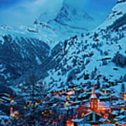 Zermatt - Winter's Night Poster by Brian Jannsen