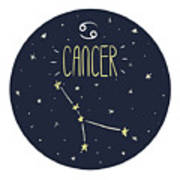 Zodiac Signs Doodle Set - Cancer Poster