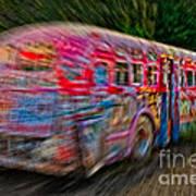 Zooming Graffiti Bus Poster