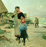 Fisherfolk Returning With Their Nets Poster