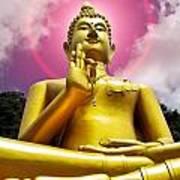 Golden Love Buddha Poster