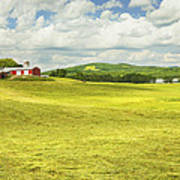 Hay Harvesting In Field Outside Red Barn Maine Poster
