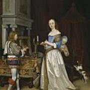 Lady At Her Toilette Poster by Gerard ter Borch