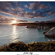 Lydstep Cliffs Sunset Poster