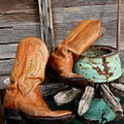 Old Cowboy Boots Poster