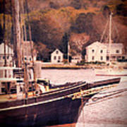 Old Ship Docked On The River Poster