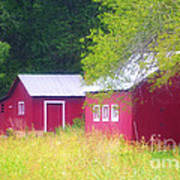 Peaceful Country Barn And Meadow Poster