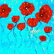 The Red Poppies Dancing In The Rain Poster by Pretchill Smith
