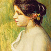 Young Woman With Flowers At Her Ear Poster