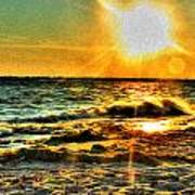 0009 Windy Waves Sunset Rays Poster