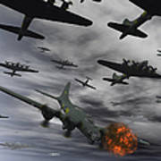 A B-17 Flying Fortress Is Set Ablaze Poster