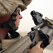 A Marine Aims In With A M-32 Multiple Poster