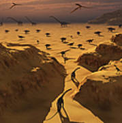 A Mixed Herd Of Dinosaurs Migrate Poster