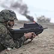 A Peruvian Marine Assaults A Beach Poster