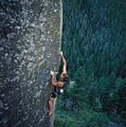 A Rock Climber In Montanas Hyalite Poster