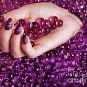 Abstract Woman Hand With Purple Nail Polish Poster