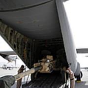 Aircrew Load An M777 A2 Howitzer Onto Poster