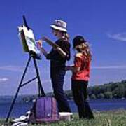 Artist Painting Cayuga Lake Poster