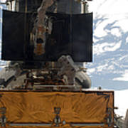 Astronauts Working On The Hubble Space Poster
