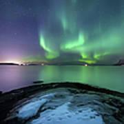 Aurora Borealis Over Vagsfjorden Poster