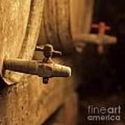 Barrels Of Wine In A Wine Cellar. France Poster by Bernard Jaubert