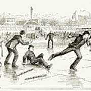 Baseball On Ice, 1884 Poster