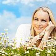 Beautiful Woman Enjoying Daisy Field And Blue Sky Poster by Anna Om