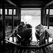 Boathouse At Maligne Lake Poster