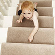 Boy Climbing Stairs Poster