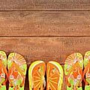 Brightly Colored Flip-flops On Wood  Poster
