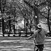 Bubble Boy Of Central Park In Black And White Poster