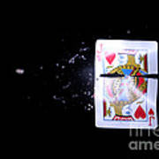 Bullet Hitting A Playing Card Poster