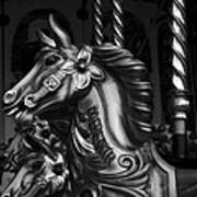 Carousel Horses Mono Poster