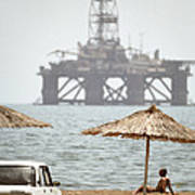 Caspian Sea Oil Rig Poster by Ria Novosti