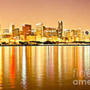 Chicago Skyline At Night Photo Poster