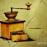 Coffee Mill And Beans In Grunge Style Poster