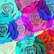 Colorful Roses Design Poster by Setsiri Silapasuwanchai