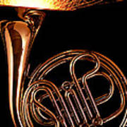 French Horn With Sparks Poster