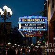Ghirardelli Chocolate Signs At Night Poster