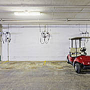 Golf Cart Parking Garage Poster by Skip Nall