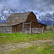 Grand Teton Iconic Mormon Barn Fence Spring Storm Clouds Poster