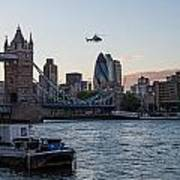Helicopter At Tower Bridge Poster