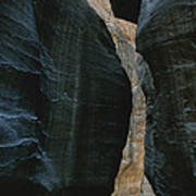 Hikers In The Siq Canyon Leading Poster