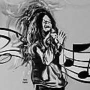 Janis In Black And White Poster