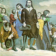 Landing Of The Pilgrims At Plymouth Poster