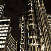 Lloyds Building London In Gold Poster