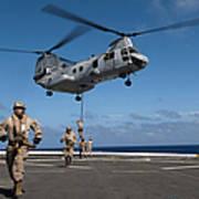 Marines Fast Rope On To The Flight Deck Poster