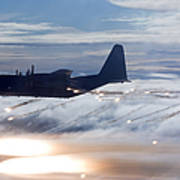 Mc-130p Combat Shadow Dropping Flares Poster