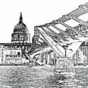 Millenium Bridge And St Pauls Poster