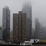 Morning Fog In New York City Poster